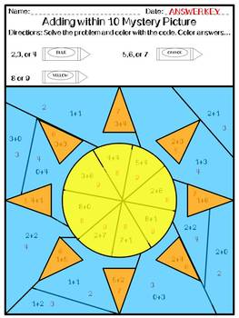 Summer Adding and Subtracting Within 10 Mystery Pictures