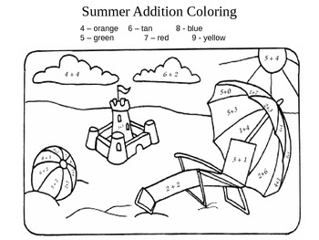 Summer Addition Coloring FREEBIE