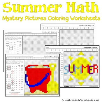 Summer Addition Coloring Pages, Summer Math Addition Worksheets
