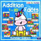 Summer: Addition Facts 1 - 20 Color By Number Independent