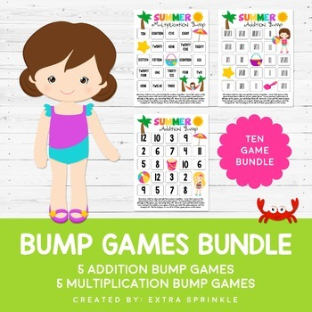 Summer Addition & Multiplication Bump Games Bundle