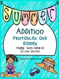 Summer Addition Printables and Games