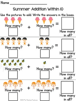 Summer Addition & Subtraction Within 10