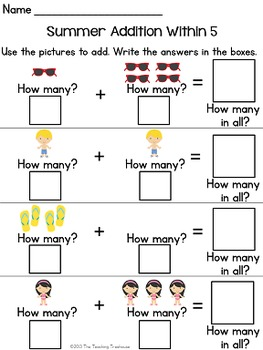 Summer Addition & Subtraction Within 5
