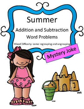 Summer: Addition and Subtraction Word Problems Mixed Difficulty: Mystery Joke