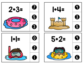 Summer Addition and Subtraction Clip Cards
