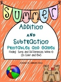 Summer  Addition and Subtraction Printables and Games