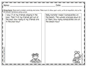 Summer Addition and Subtraction Word Problems First Grade