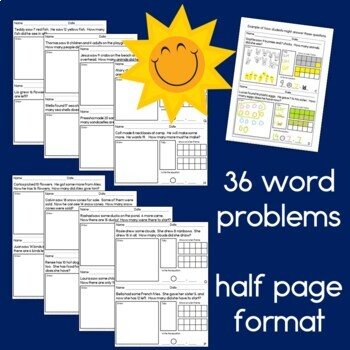 Summer Addition and Subtraction Word Problems for First Grade