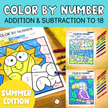 Summer Addition and Subtraction to 18 Color by Number No Prep Printables