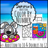 Summer Addition to 10 Color By Number Math Activity
