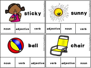 Summer Adjective, Noun and Verb Task Cards
