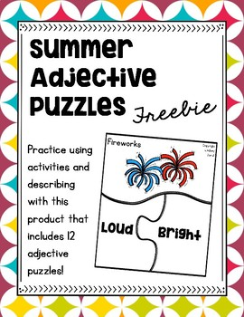 Summer Adjective Puzzles {FREEBIE}
