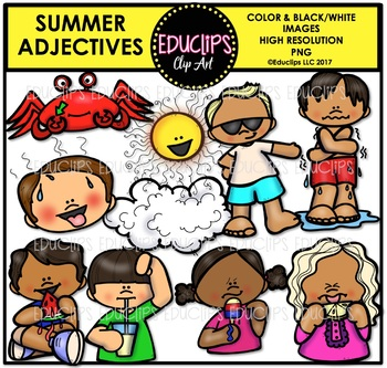 Summer Adjectives Clip Art Bundle {Educlips Clipart}
