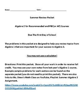 Summer Algebra 2 Assignment