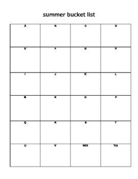 Summer Alphabet Bucket List