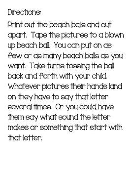 Summer Alphabet Practice Beach Ball Game
