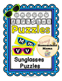 Summer Alphabet Puzzles with Sunglasses Puzzle Cards - Bright Colors!