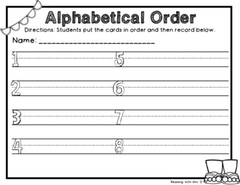 Summer Alphabetical ABC order Dolch Sorting cards and Recording Page