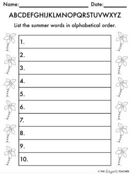 Summer Alphabetical Order Activity