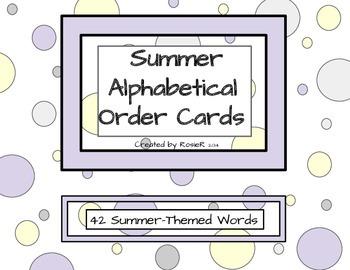 Summer Alphabetical Order Cards