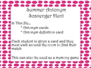 Summer Antonym Scavenger Hunt!! Common Core