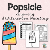 Summer Art Activity - Popsicle Drawing & Watercolor Painting