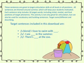 s, z, s-blends Summer Artic/Language Sentences & Activities for Speech Therapy