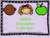 "Summer Articulation Calendar- 3 months of ""homework"""