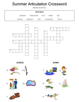 Summer Articulation Crosswords