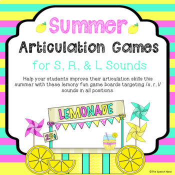Summer Articulation Game Boards for /S, R, L/ Sounds