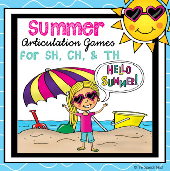 Summer Articulation Game Boards for /SH/, /CH/, & Voiceless /TH/ Sounds