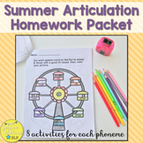 Summer Articulation Homework Packets - No Prep