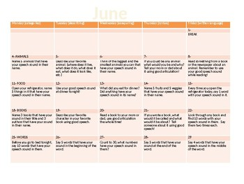Summer Articulation Homework Calendar