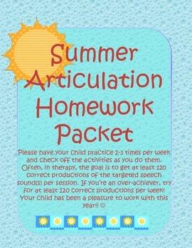 Summer Articulation Homework Packet
