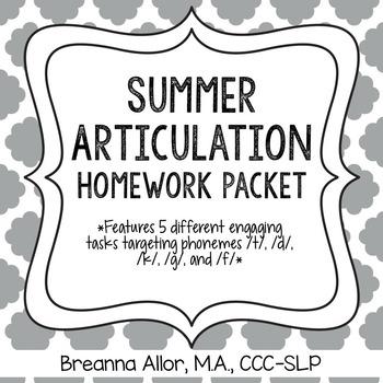 No Prep Summer Articulation Homework Packet