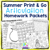 Summer Speech Therapy Homework Packet with Articulation Calendars