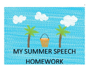 Summer Articulation Homework for /l/