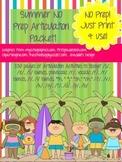 Summer Articulation NO PREP Speech Therapy Activities