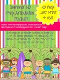 Summer Articulation NO PREP Speech Therapy Activities