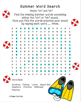 Summer Articulation Word Search Bundle