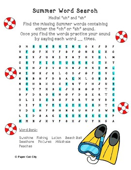 """Summer Articulation Word Search """"ch"""" and """"sh"""""""