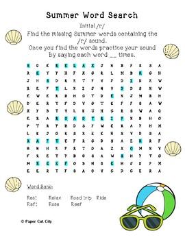 Summer Articulation Word Search /r/, r-blends, vocalic /r/