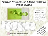 Easy Prep Summer Articulation and Home Practice Paper Chains - Initial Words