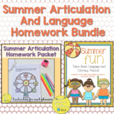 Summer Articulation and Language Homework BUNDLE