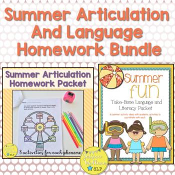 Summer Articulation and Language Homework BUNDLE