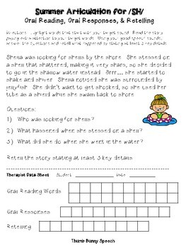 Summer Articulation for Oral Reading, Responses & Oral Retelling