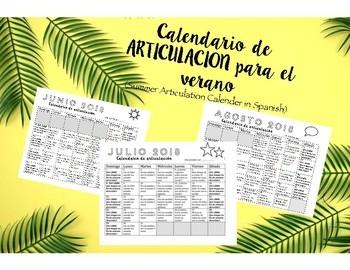Summer Articulation homework in SPANISH