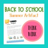 Summer Artifact - Back to School Homework