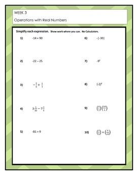 Summer Assignment:  Algebra Review Packet